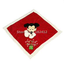 Mickey Mouse Plush Toys Christmas Saliva Towel Appease Newborn Baby Soft Hand Towels for Kids 33*33CM