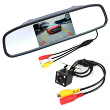 HD Video Auto Parking System , Night Vision Reverse Camera CCD Car Rear View Camera With 4.3 Inch Car Rearview Mirror Monitor