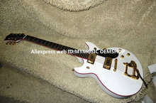 Wholesale Guitars G6128T Duo Jet white Guitar Red binding With tremolo Free Shipping