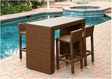 Havana Outdoor Wicker Furniture 5-Piece Dining Bar Set In Brown