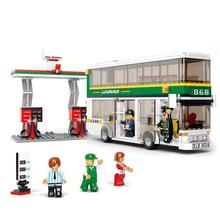BOHS Plastic Building Blocks Single Double Deck School City Bus Plane DIY Bricks Toy Sets No retail box(China)