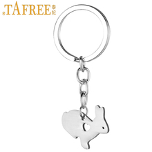 TAFREE cute little bunny women purse bag keychain stainless steel rabbit pendant key chain ring holder Easter gift jewelry SKU14(China)