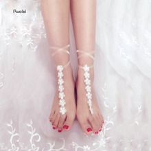 Cheap Barefoot Sandals Stretch Anklet Chain With Toe Retaile Sandbeach Wedding Accessories Bridal Bridesmaid Foot Jewelry(China)