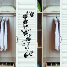 KAKUDER Flower Vine Wall Sticker Decals Black Mural Removable Vinyl Art Home Decoration Wardrobe DIY Removable Happy Sale ap425
