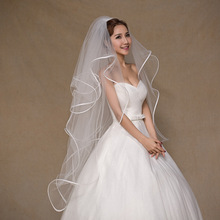 In Stock Wedding Veils 1 M 4 Layers Ruffles Ribbon Edge Elegant Women Bride Hairstyle Accessory Designer Bridal Veil