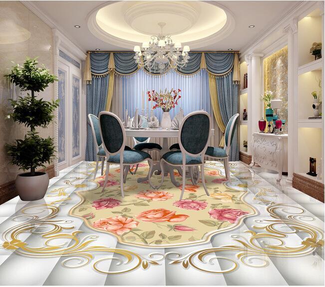 3d flooring custom waterproof self adhesion pvc wallpaper decorative pattern Vintage Rose 3D bathroom wallpaper for walls 3d<br>
