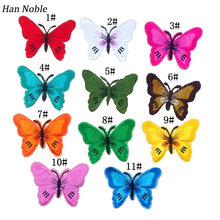 Han Noble 10PCS Mixed Butterfly patches iron on sewing Lace Fabric Sticker for clothes embroidered appliques DIY accessory P025