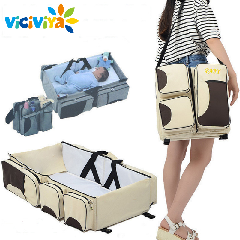 Multi-function foldable portable portable crib bed bed large capacity mummy bag shoulder baby bag travel bed^<br>
