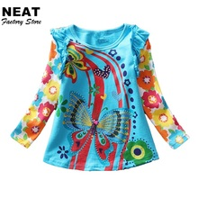 Retail T-shirts for Girls Long Sleeve Roupa Infantil Princess Children Cartoon Clothing Kids Children's t-shirts Nova L3916 MIX(China)