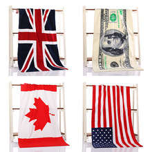 70*140cm printed 100% cotton bath beach towel for adults serviette ronde American British flag beach towel toalla playa free