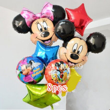 XXPWJ Free shipping 8pcs / lots   Mickey Minnie children's toys wholesale party balloon Set birthday decoration pentagram X-061