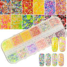 12 Color Nail Glitter Acrylic Powder Dust 3D New Designs Snow Flower Tips Flakes Set Nail Sequin Irregular DIY Effect CHXH(China)