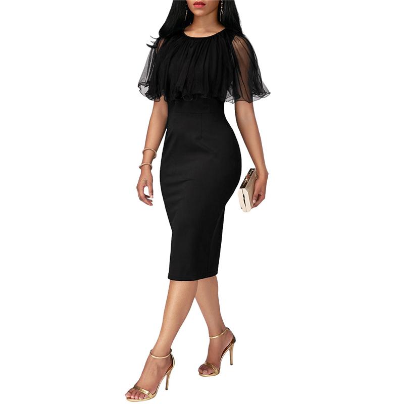 Adogirl Black Mesh Cape Bodycon Party Dresses Elegant Ladies Pencil Office Dress High Quality Cheap Work Wear Vestido De Festa 6