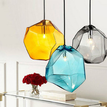 Colorful crystal glass stone pendant light 1/3 heads G9 base indoor lighting hanging lamp for restaurant dining room bar deco