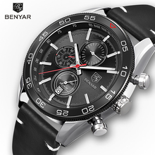 BENYAR Fashion Men Sport Watch Brand New Design Military Army Leather Strap Chronograph Wristwatches Best Gift Relogio Masculino
