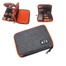Waterproof Ipad organizer USB data cable earphone wire pen power bank travel storage bag system kit case digital gadget devices