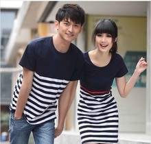 Hot Selling Fashion Couple Clothes Lovers Summer Casual Navy Blue And White Striped T Shits Cute Korean Style Couple Shirts
