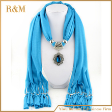 Hot selling fashion Lady flower pendant scarf necklace charm woman girls ornament accessories wholesale scarves