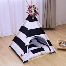 Hot sale fashion Pet tent Dog house dog bed Pet House Tent Wood Kennel Puppy love Dog Cat Bed House with mat Four Seasons SE19(China)