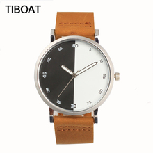 TIBOAT Black white bisect creative design Wooden Dial Men's Quartz Watch Woman Genuine Leather Strap Watches Women Wristwatch(China)