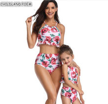 Mom And Daughter Swimwear 2019 Floral Mother Daughter Swimsuit Family Look Mommy And Me Bikini Family Matching Bathing Suit(China)