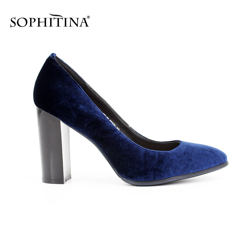SOPHITINA Classics Velvet Women Pumps Round Toe high heels Dark Blue Spring Autumn Thick heels shallow Party Wedding shoes D018<br>