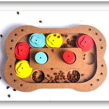 Smart Accessories Food Treated Wooden Dog Toy Puzzle Interactive Toy for Dogs Cats Pet Bone Paw Shape