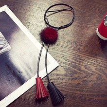 New Winter Fashion Fur Ball Pu Leather Tassel Necklaces Long Pendant Sweater Chain Necklaces For Women(China)