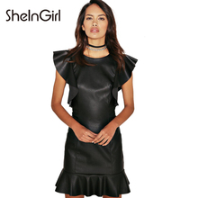 SheInGirl Solid Black PU Ruffles Mermaid Dress Women Clothing Zipper Mini Vestido Skinny Chic Female Summer Dress