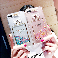 Luxury Lady Perfume Light Flash Calling Notice Phone Case for iPhone 7 7plus 6 6S Plus ,LED Flashing Capa Quicksand Liquid Cover(China)