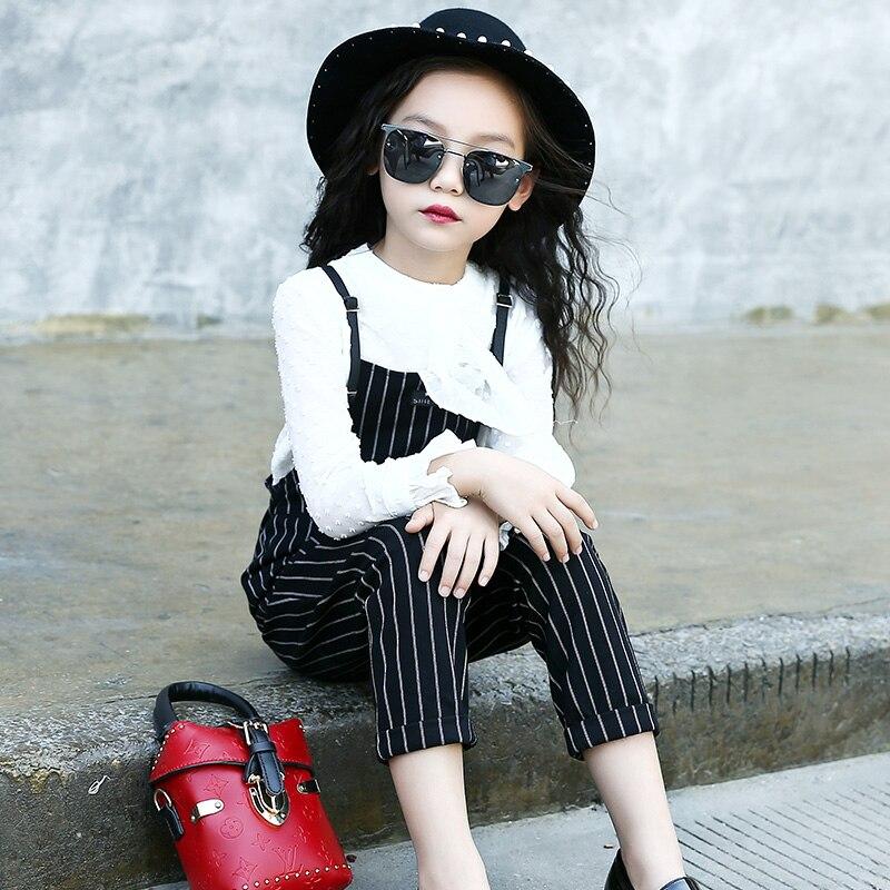 2017 Fashion Kids Outfits Cotton Children Clothing Sets England Girls Blouses Shirts + Overalls 2Pcs Autumn Girls Princess Suits<br>