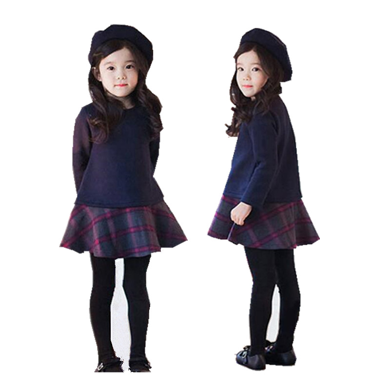 fashion designer 2017 new winter cotton cashmere woolen dress Girls Princess Dress china-imported-clothes free shipping<br><br>Aliexpress