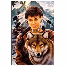 Full Drill Diamond Embroidery 3D Diamond Cross Stitch Fashion Diamond Mosaic Indian And Wolf Pictures Of Rhinestones Home Decor