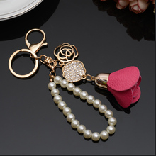 2017 Camellia Flower Leather Keychain Bag Pendant Car Ornaments Creative Gifts Long Key Chain Buckle Key Ring 17 Colors EH-816