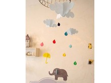 1set Hanging Cloud Rainy Umbrella Elephant Happy Birthday Felt Craft Party Kids Room Decoration Tag Photography Props TO9334378