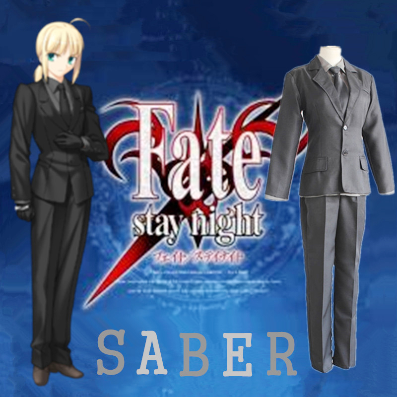 Free shipping Fate stay night/Fate Zero Arturia Pendragon Saber Cosplay Halloween Anime Party Man Woman Cartoon Cosplay Costume