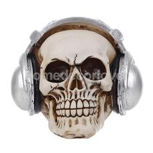Gothic Skull & Headphone Ornament Resin Collectible Model Decorative Craft(China)