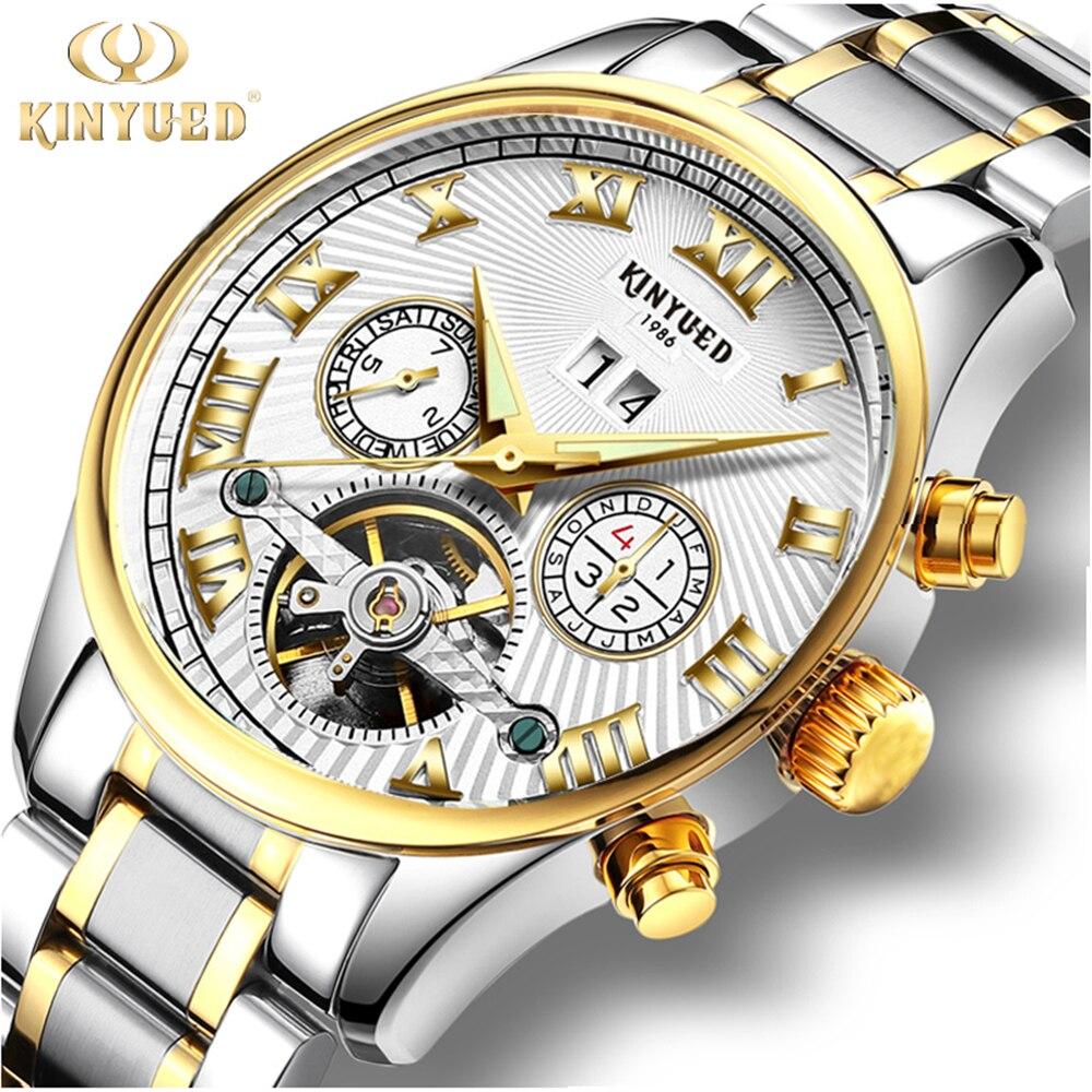 KINYUED Business Mechanical Watches Mens Skeleton Tourbillon Automatic Watch Men Gold Steel Calendar Waterproof Relojes Hombre<br>