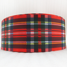 "5Y45729  3""(75mm) Scottish plaid high quality printed polyester ribbon 5 yards, DIY handmade materials, wedding gift wrap"