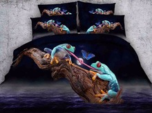 JF-311 Two Frogs print duvet cover set 4pcs full queen king size bedding sets(China)
