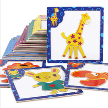 One Set Kids Jigsaw 3 d wooden magnetic Puzzle Cartoon Animals Dimensional Puzzle Force Children Wooden Jigsaw Puzzle Kids Educa