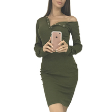 Buy Knit Dress Women Sexy One Shoulder Button Dress Autumn Winter Bodycon Dresses Long Sleeve Mini Dresses Vestidos Female GV412 for $11.59 in AliExpress store