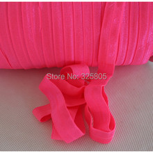 "Free shipping ! #159 neon pink 5/8"" (16mm) FOE elastic, solid Fold Over Elastic 50yards/lot, FOE for Headbands"