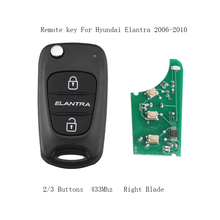 LARATH 2/3 Buttons 433mhz Folding Remote Car Key Fob For Hyundai Elantra 2006-2010 NO chip Right Blade(China)