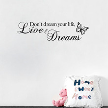 Home Decor Art Removable Decal Wall Sticker Word Live Your Dream Butterfly Quote Room Decor(China)
