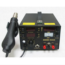 Free Shipping 1PCS 220V/110v SAIKE 909D Soldering/Hot air gun rework station 3 in 1 Soldering iron+Hot Air Gun+Power Supply te