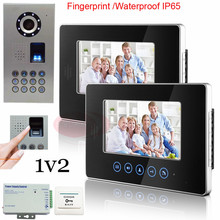 New Video Door Phone Intercom System For 2 Apartments 2 Touch key Indoor Monitors Night Vision Fingerprint Unlock CCD Camera