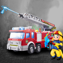 Playmobile Fireman Sam Kids Toy Truck Car With Music Led For Baby Toys Fire Truck Educational Spray Water Gun Toy Free Shipping