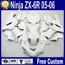 ABS plastic custom Motorcycle fairing sets for ninja kawasaki 2005 ZX6R 2006 ZX 6R 636 Ninja 05 06 all white Road fairings kits(China)