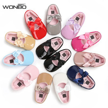 WONBO Newborn Baby Girls Princess Shoes Crib Bebe Infant Toddler Kids First Walkers Patent leather Mary Jane Big Bow Solid Shoe